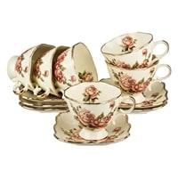 Чайный набор из фарфора на 6 персон «Корейская роза»