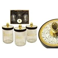 Набор из 3-х банок для сыпучих продуктов «Dubai» Gold/Silver