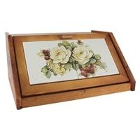 Деревянная хлебница с керамическими вставками «Роза и малина»