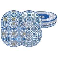 Набор из 4-х десертных тарелок из фарфора «Майолика» (голубая) в подарочной упаковке