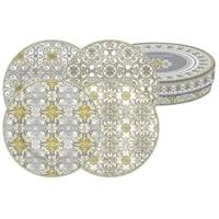 Набор из 4-х десертных тарелок из фарфора «Майолика» (серая) в подарочной упаковке