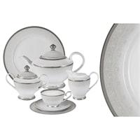 Чайный сервиз из фарфора на 12 персон «Вуаль белая»