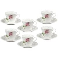 Чайный набор из костяного фарфора на 6 персон «Апрельская роза»