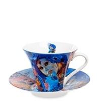 Чашка с блюдцем из костяного фарфора «Венецианские маски»