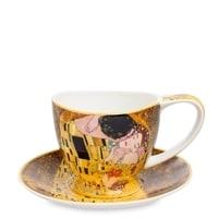 Чашка с блюдцем из костяного фарфора «Поцелуй» (Густав Климт)