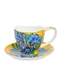 Чашка с блюдцем из костяного фарфора «Ирисы» (Ван Гог)