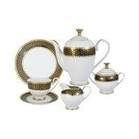 Чайный сервиз из фарфора на 6 персон «Чёрное золото»