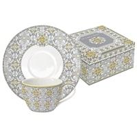 Чайный набор из фарфора на 2 персоны «Майолика» (серая) в подарочной упаковке