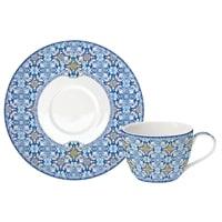 Чашка с блюдцем из фарфора «Майолика» (голубая)