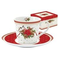 Чашка с блюдцем из фарфора «Рождественская коллекция» (белая)