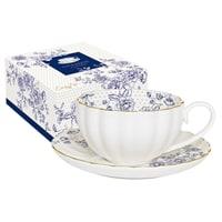 Чашка с блюдцем из фарфора «Голубые пионы»