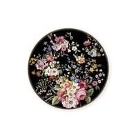 Тарелка десертная из костяного фарфора «Цветочный карнавал» (тёмная)