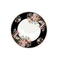 Тарелка обеденная из костяного фарфора «Цветочный карнавал» (тёмная)