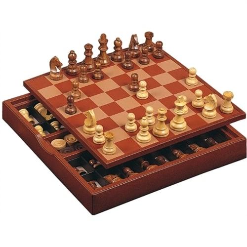 Набор «Шахматы и шашки» Renzo Romagnoli в коричневом боксе