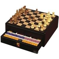 Набор 3 в 1: шахматы, шашки, покер Renzo Romagnoli Mirage Chessboard Trunk Black Dollar Leather