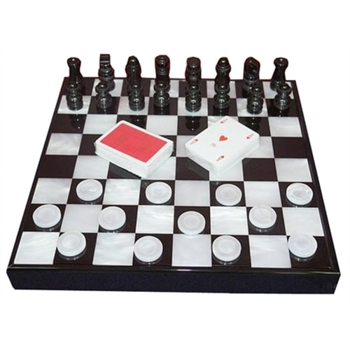 Набор «Шахматы, шашки, карты» Renzo Romagnoli в черном боксе