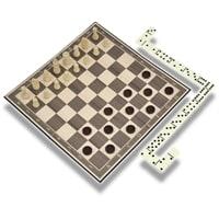 "Набор игр ""3 в 1"" CLASSIC, поле-спреcсованный картон, фишки - дерево, пластик, 275 х 195 х 67 мм"
