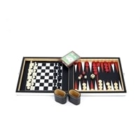 """Набор игр """"4 в 1"""" в кожаном боксе (нарды, шашки, покер, шахматы), пластик, 240 х 570 х 270 мм"""