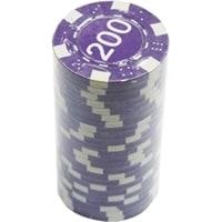 """Фишки для покера с номиналом """"200"""", пластик, 11,5 г (25 штук)"""