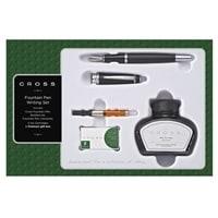 Набор Cross Bailey Matte Black: перьевая ручка, конвертер, 3 картриджа, флакон с черными чернилами