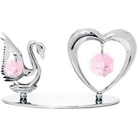 Миниатюра с розовыми кристаллами Crystocraft «Лебедь и сердце»