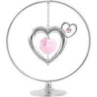 Миниатюра с розовыми кристаллами Crystocraft «Два Сердца»