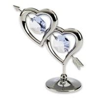 Миниатюра с голубыми кристаллами Crystocraft «Два сердца»