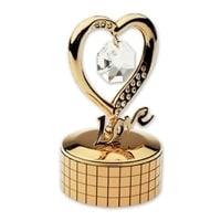 Шкатулка музыкальная Crystocraft «Сердце», золотистого цвета с бесцветными кристаллами, сталь