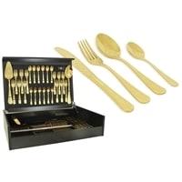 Набор столовых приборов в деревянной коробке на 12 персон «Antique Titanium Gold»