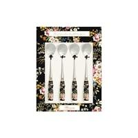 Набор из 4 чайных ложек «Цветочный карнавал» (чёрный)