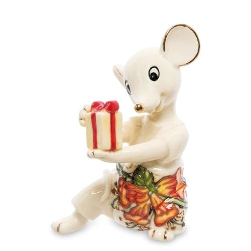 Фарфоровая фигурка «Мышонок с подарком» JP-121/17 (Pavone)