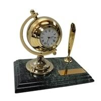 Настольный набор: ручка, часы, 9х14,5х1,8 см, мрамор