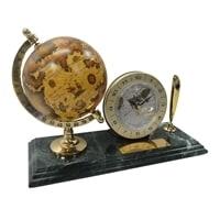 Настольный набор: ручка, часы, глобус, 9х23х1,8 см, мрамор