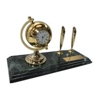 Настольный набор: 2 ручки, часы, 9х23х1,8 см, мрамор