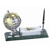 Настольный набор: ручка, держатель для визиток, глобус, 11х26х1,8 см, мрамор