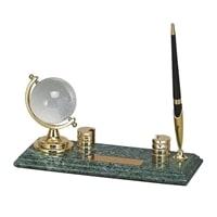Настольный набор: глобус, ручка, держатель для визиток, 23 х 9 х 1,8 см, мрамор