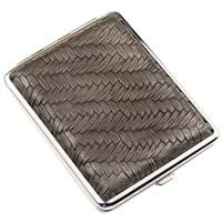 Портсигар S.Quire, сталь+искусственная кожа, бронзово-серый цвет с рисунком