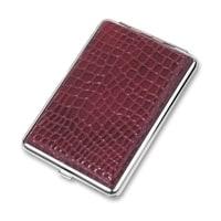 Портсигар S.Quire, сталь+искусственная кожа, красный цвет с рисунком
