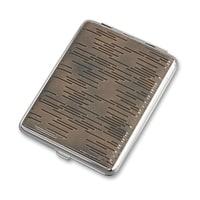Портсигар S.Quire, сталь+искусственная кожа, черный цвет, гладкий