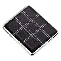 Портсигар S.Quire, сталь+натуральная кожа, черный цвет с прострочкой