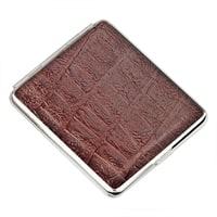 Портсигар S.Quire, сталь+натуральная кожа, коричневый цвет с рисунком