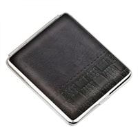 Портсигар S.Quire, сталь+натуральная кожа, черный цвет с рисунком