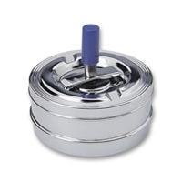 Пепельница S.Quire круглая, сталь, покрытие никель, серебристый, с синей ручкой, 90 мм