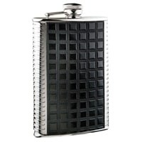 Фляга S.Quire 0,18 л, сталь+искусственная кожа, вставка черная с рисунком, D-Pro