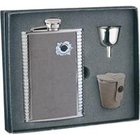 Набор S.Quire: фляга 1508YGB-7-B + стаканчики 30 мл + воронка d=40 мм, сталь, искус.кожа,картон.кор.