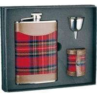 Набор S.Quire: фляга 1508YCR + стаканчики 36 мл + воронка d=40 мм, сталь, картонная коробка