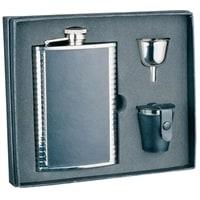 Набор S.Quire: фляга 1508YGB + стаканчики 30 мл + воронка d=40 мм, сталь, натур. кожа, карт. кор.