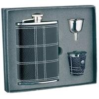 Набор S.Quire: фляга NCTB08-3175 + стаканчики 30 мл + воронка d=40 мм, сталь,натур.кожа,картон.кор.