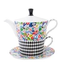 Чайный набор из костяного фарфора «Цветочный модерн» SL-21 (Stechcol)