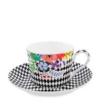 Чашка с блюдцем из костяного фарфора «Цветочный модерн» SL-23 (Stechcol)